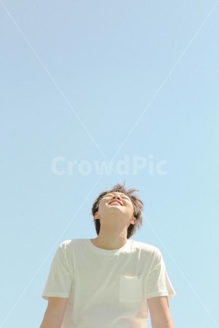 행복, 기쁨, 하늘, 구름, 파란하늘