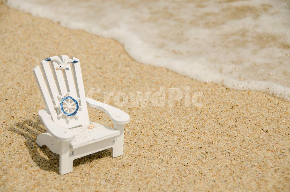 의자, 바다, 휴가, 여름, 모래