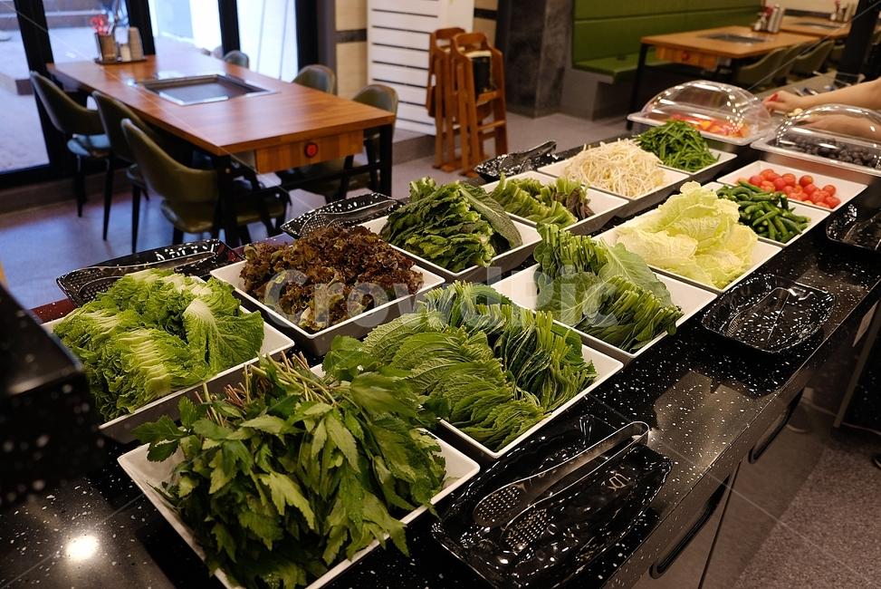 샐러드바, 무한리필, 뷔페, 식당, 음식