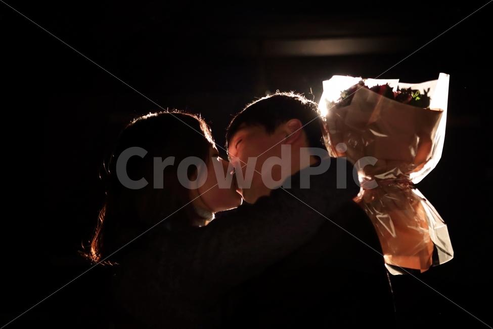 프로포즈, 꽃다발, 연인, 커플, 고백