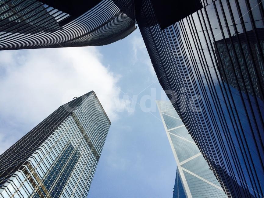 홍콩, 센트럴, 하늘, 구름, 빌딩