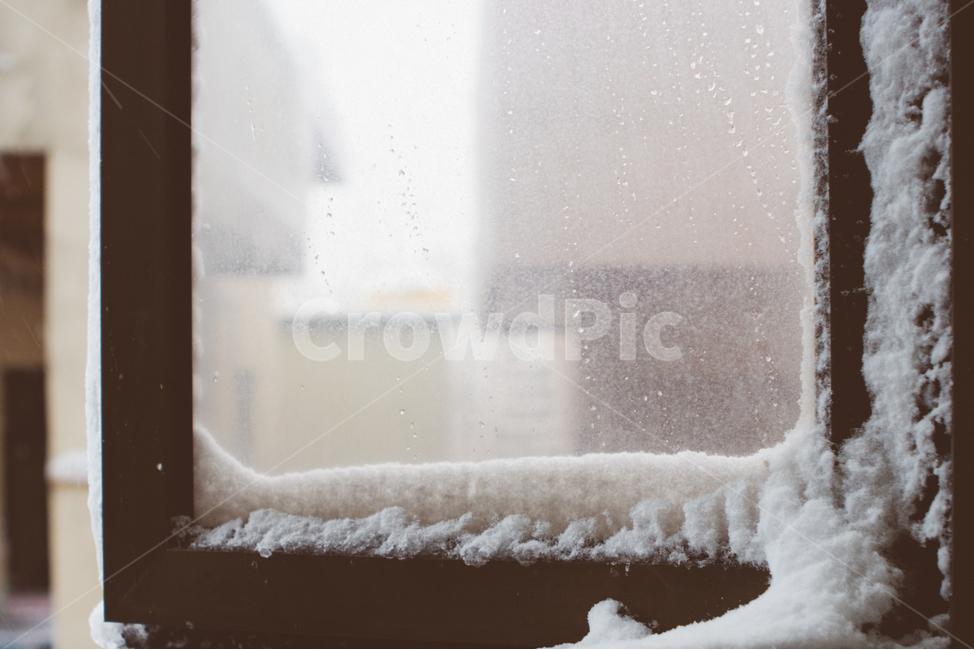 눈, snow, 겨울, 눈사람, 창문