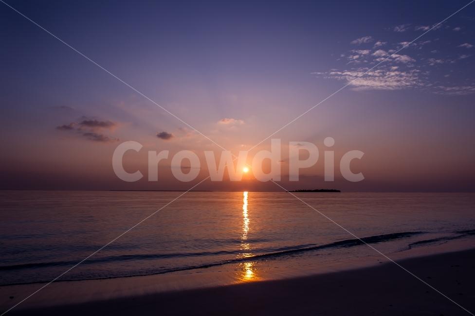 몰디브, 아야다섬, 바다, 일몰, 여행