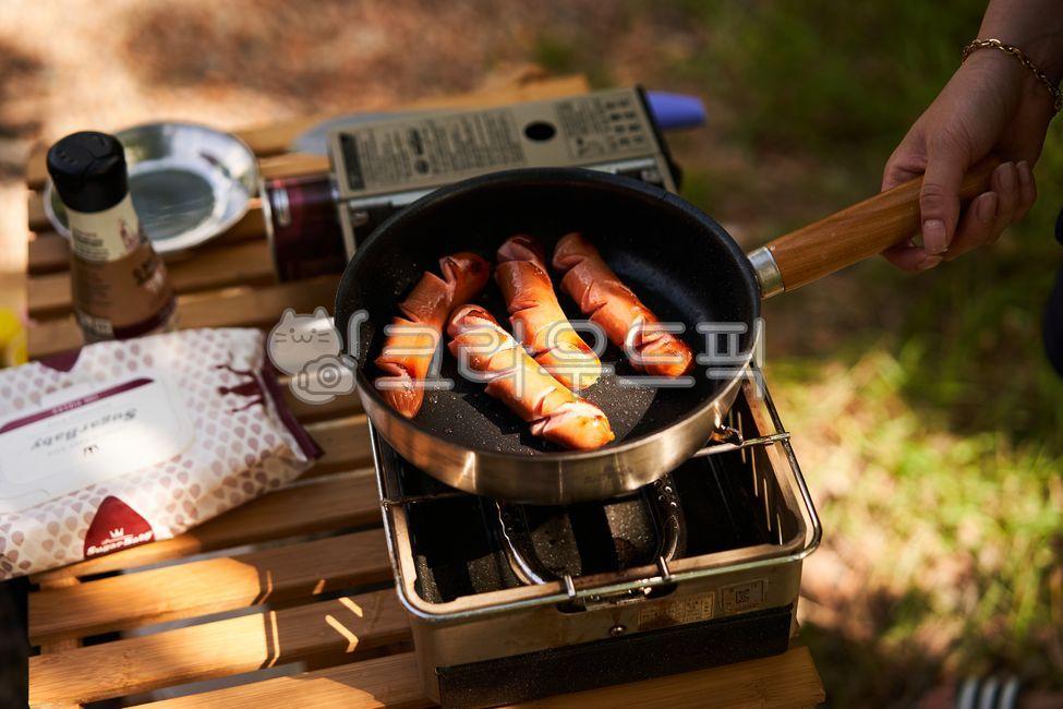캠핑, 소세지, 요리, 음식, 버너