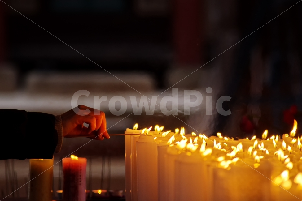 기원, 촛불, 향불, 불교, 사찰