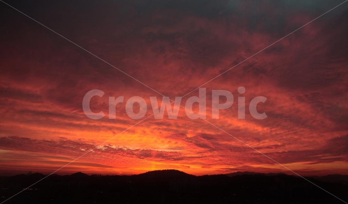 저녁노을, 석양, 하늘, 용오름, 붉은하늘