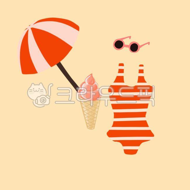 여름, 해변, 수영복, 썬글라스, 여름일러스트