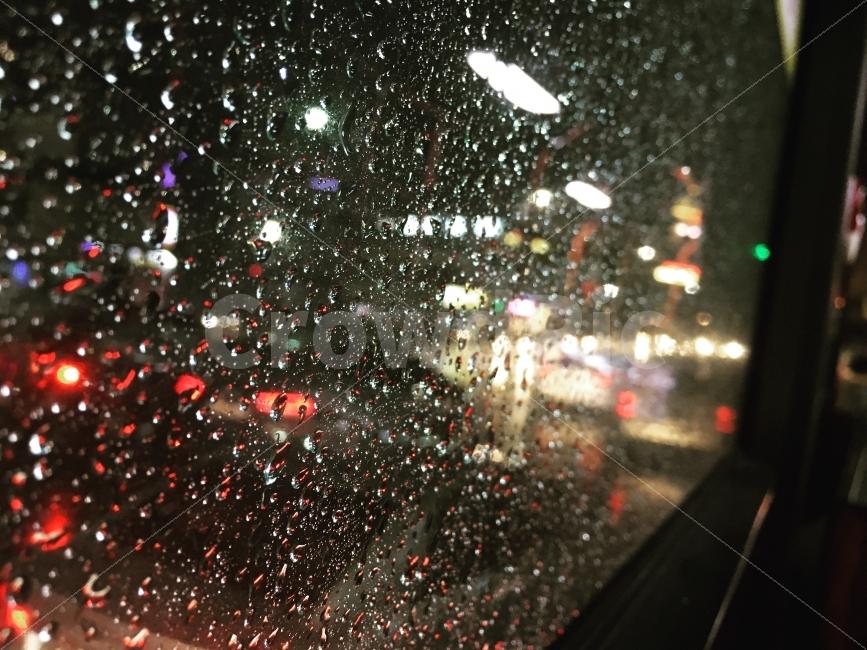 풍경, 사진, 비오는날, 버스안, 도시풍경
