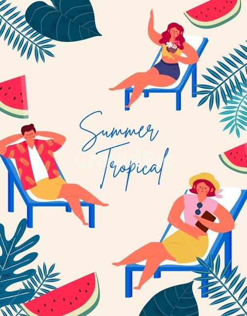 일러스트, 계절, 시즌, 여름, 트로피컬