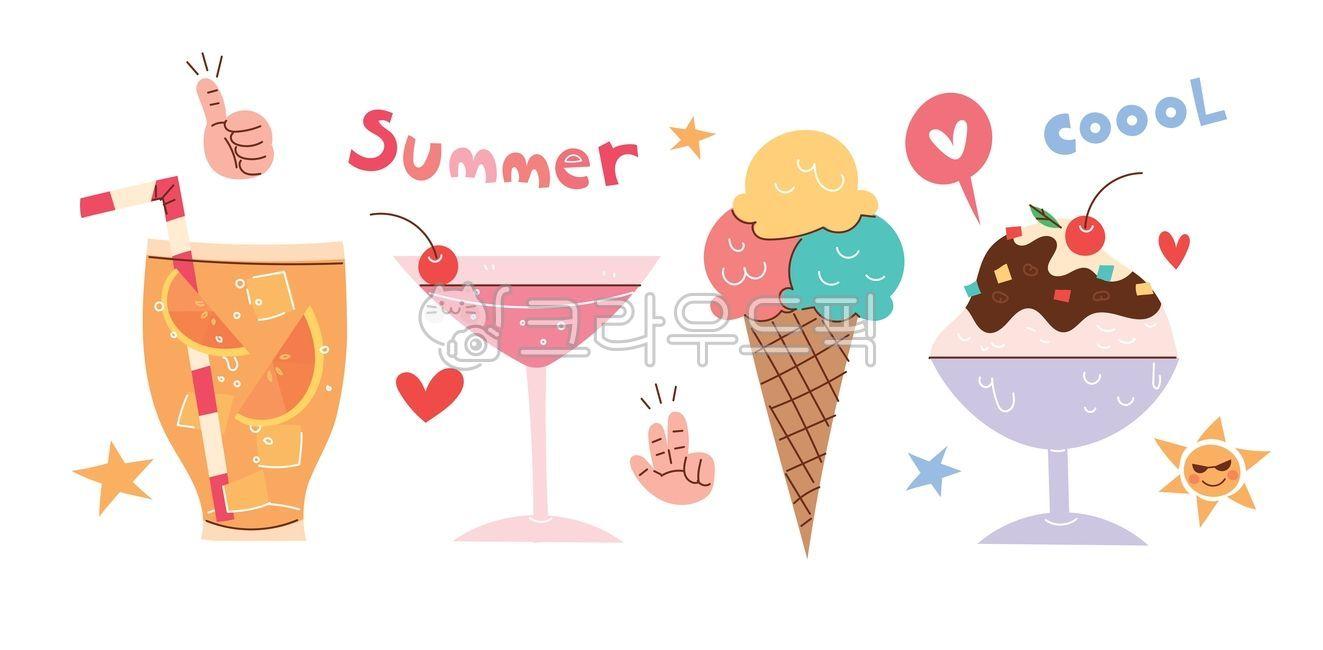 아이스크림, 여름, 여름일러스트, 벡터, 일러스트