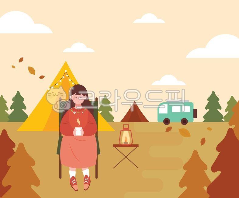 캠프, 텐트, 캠핑일러스트, 야영지, 램프