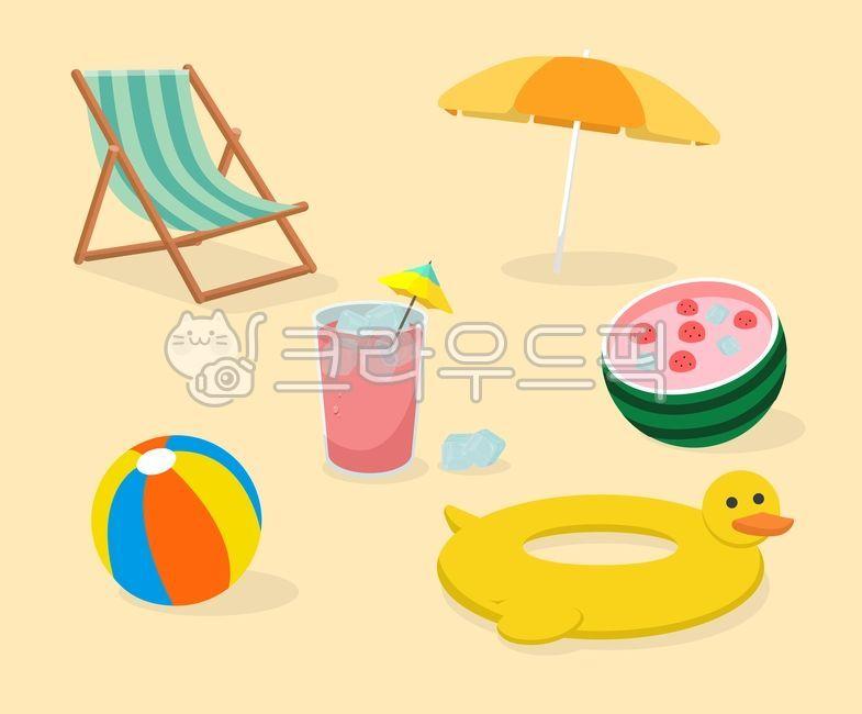 여름일러스트공모전, 의자, 튜브, 비치볼, 화채