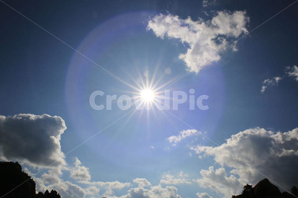 하늘, 구름, 태양, 눈부심, 햇빛