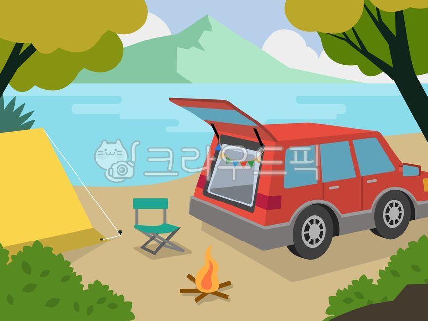 차, 캠핑, 자동차, 텐트, 호수