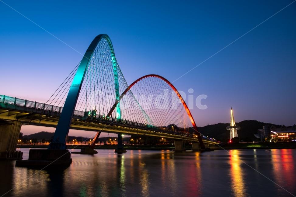 한빛탑, 대전, 엑스포, 야경, 노을