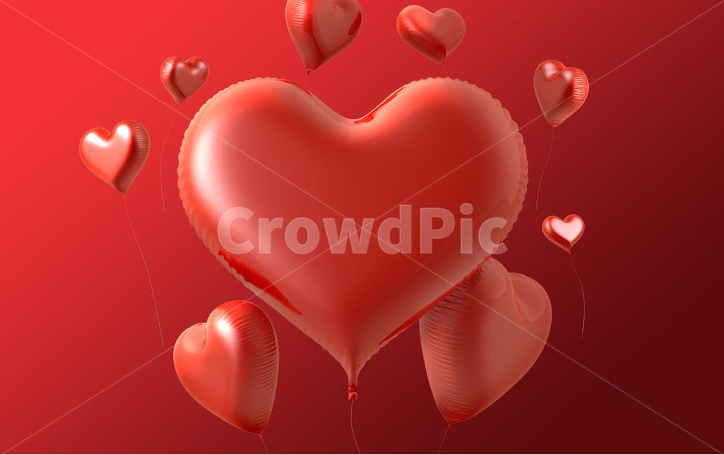 하트, 발렌타인데이, 일러스트, 배경, 백그라운드