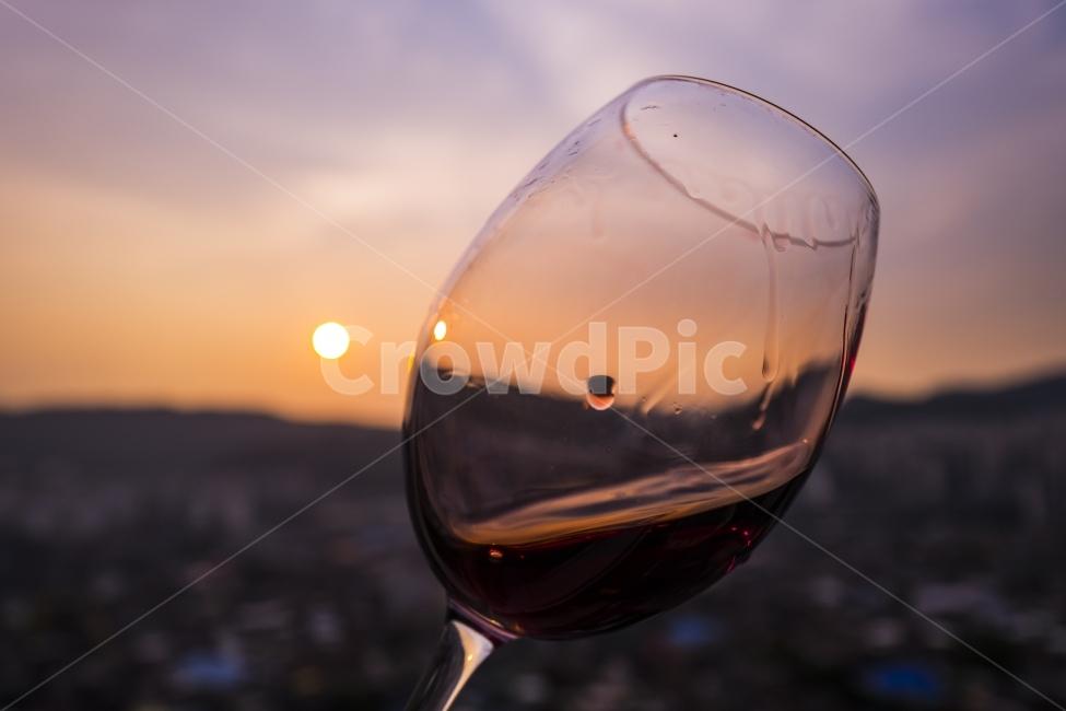 와인, 노을, 술, 와인잔, 주류