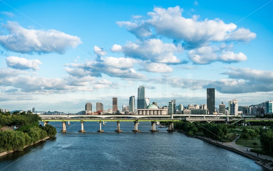 한강, 도시, 하늘, 구름, 빌딩