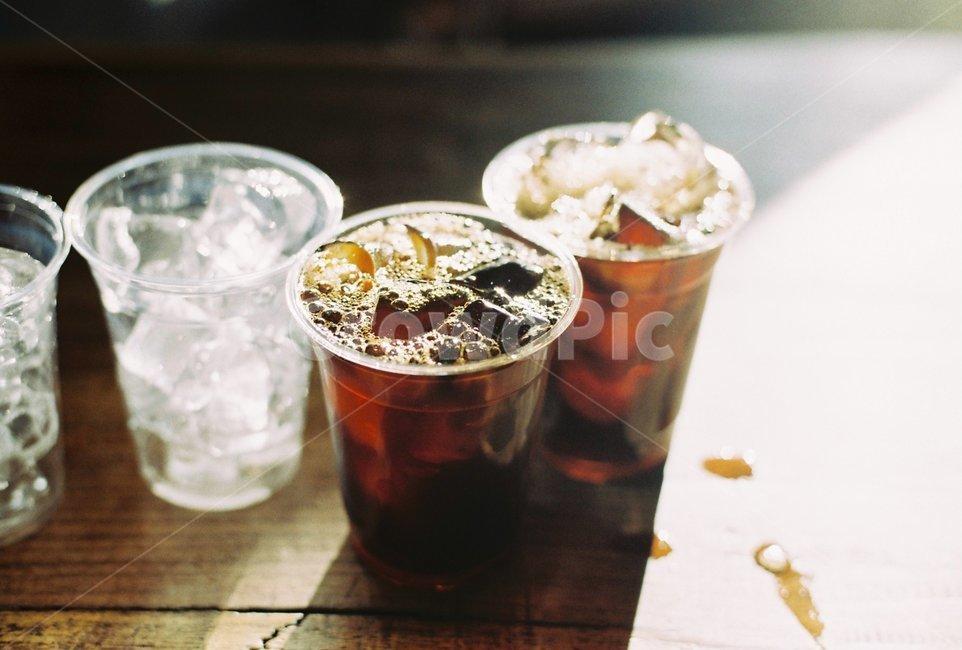 커피, 아이스커피, 아이스아메리카노, 카페, 햇살