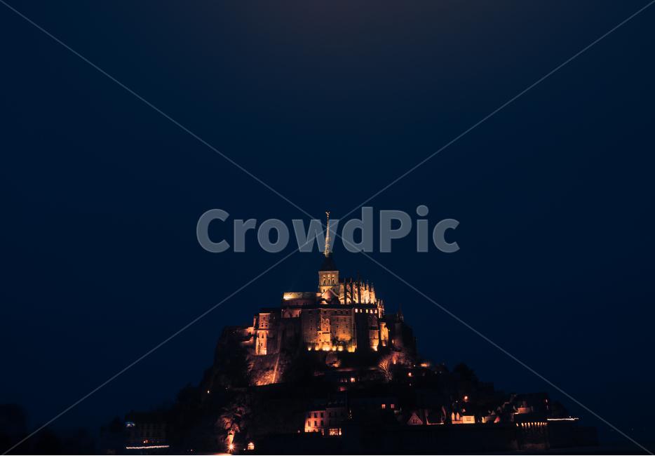 프랑스, 노르망디, 몽쌩미쉘, 몽생미쉘, 수도원