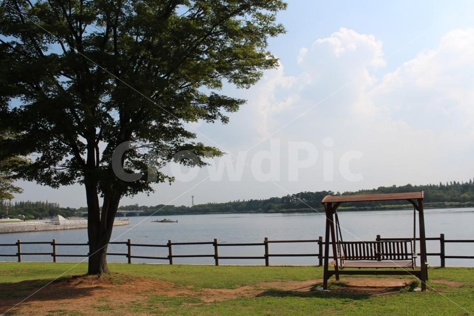 일산, 호수공원, 나무, 그네, 휴식