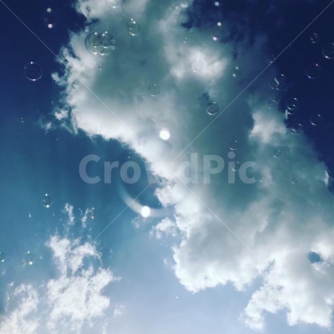 하늘, 구름, 여름, 비누방울, 배경
