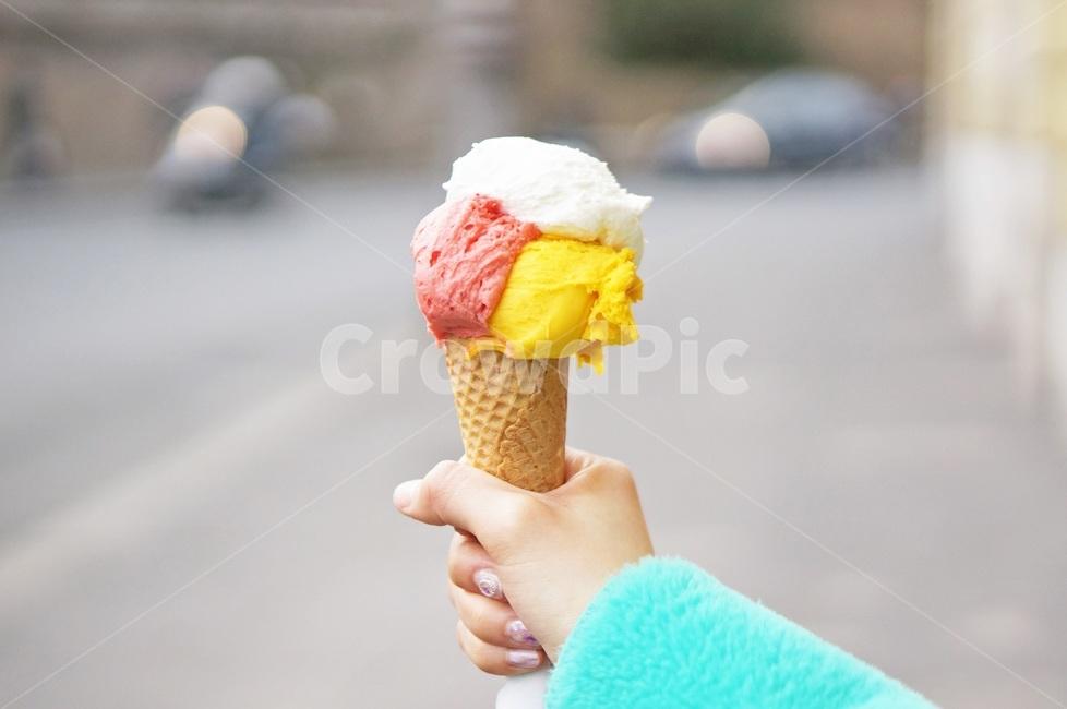 젤라또, 아이스크림, 콘, 3색, dessert