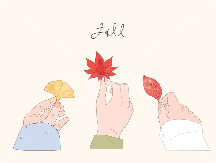 손, 가을, 일러스트, 낙엽, 손가락