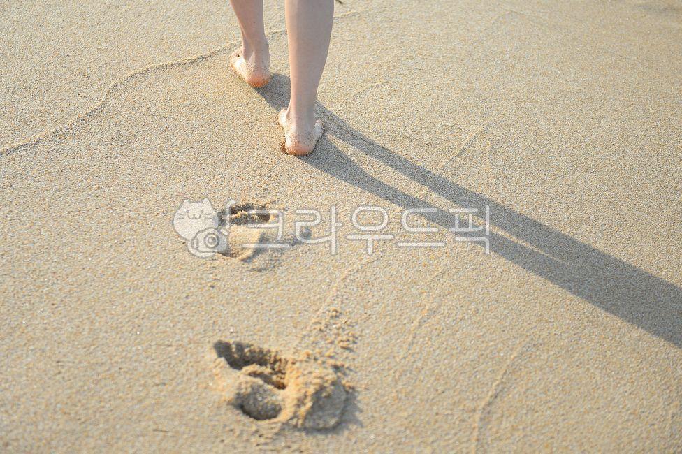 사람, 발자국, 모래발자국, 바닷가, 해변
