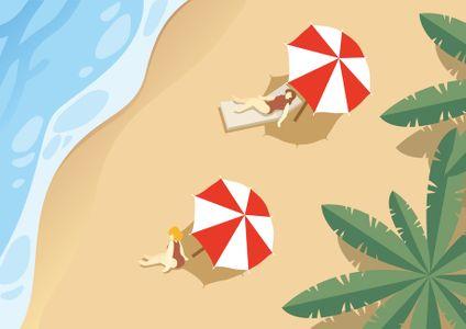 해변-파라솔-바다-모래사장-야자수