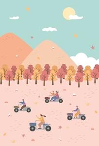 가을-단풍-단풍잎-사륜바이크-바이크