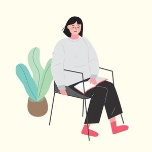 앉은사람-앉다-의자-일러스트-손그림