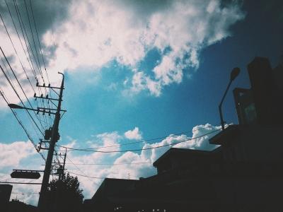 하늘-가을하늘-홍대-전신주-전봇대
