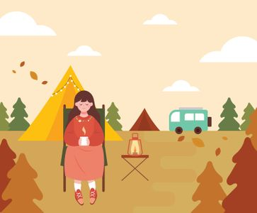 캠프-텐트-캠핑일러스트-야영지-램프