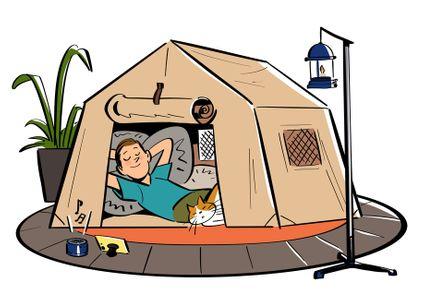 캠핑-텐트-랜턴-식물-휴식