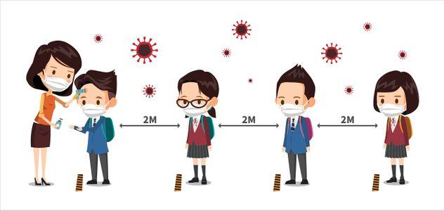 사회적거리-학생-코로나-바이러스-질병
