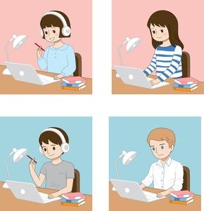 가정교육-재택근무-일러스트레이션-사무실-공부중