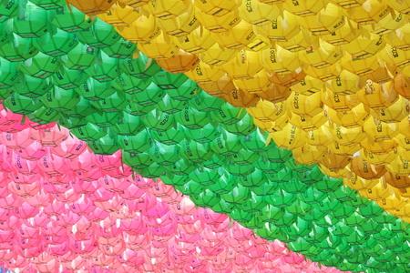 등-한국전통-노란색-분홍색-초록색